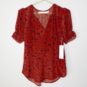 Bishop + Young Red Ruffle Sleeve Blouse Top S NWT